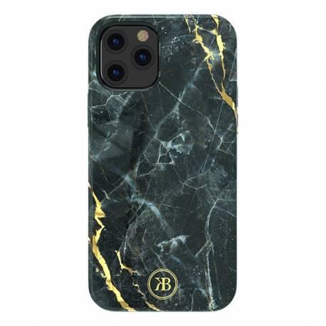 Kingxbar Marble Series eleganckie etui pokrowiec z nadrukiem marmur iPhone 12 mini czarny